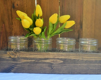Wooden Caddy with Mason Jars