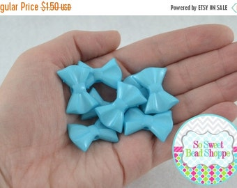 ON SALE Acrylic Bow Beads, Light Blue, 8 ct, 19X26mm