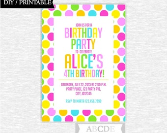Pink, Yellow, Green, Blue Girl Birthday invitation Polka Dots DIY Printable (PDSDCH023)