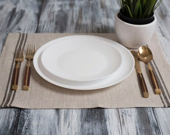 Linen Placemat Stonewashed Natural with Black Stripes