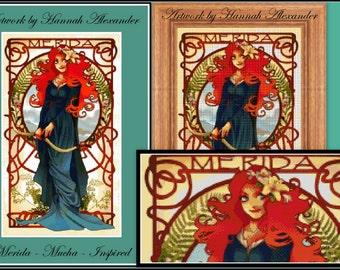 Merida - Mucha-inspired - Artwork by Hannah Alexander - cross stitch pattern - PDF pattern - Instant download!