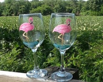 Flamingo wine glass....each glass 13.95 ....single glass  listing....handpainted....great summer glass...housewarming glass...tropical glass