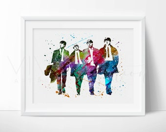 The Beatles Print, John Lennon, Paul McCartney Watercolor Painting, Birthday Gift, Beatles Watercolor Art Print Wall Decor Not Framed, No 91