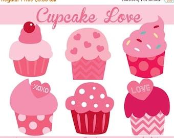 1Dollar SALE- Cupcake Clip Art - Valentine Clipart