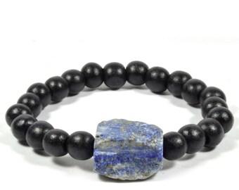 Men's Bracelet Lapis Lazuli Accent
