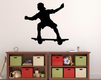 "Skateboarder Wall Decal - 27"" x 28"" Skateboarder Silhouette Vinyl Decal - Skateboarder 12"