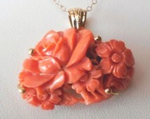 18K solid Gold and Coral Japan carved pendant
