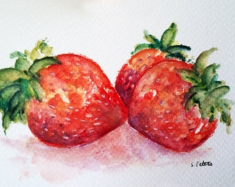 ORIGINAL Watercolor Painting, Strawberry Painting, Still life fruit Art 4x6 Inch