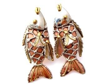 Fish Earrings, Mixed Metals, Clip ons, Copper Gold Silver,Bass Earrings,Vintage Earrings,Large Earrings,Figural Earrings