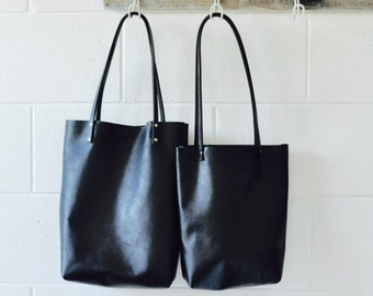Leather Tote Bag - Black Leather Bag- Tote - Leather Shoulder Day Bag - Made in Australia