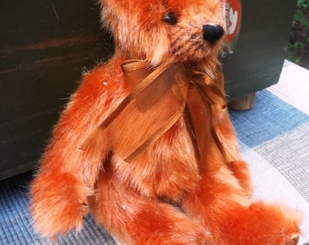 """Ty Plush """"Clay"""" Orange Bear From The Attic Treasures Collection"""