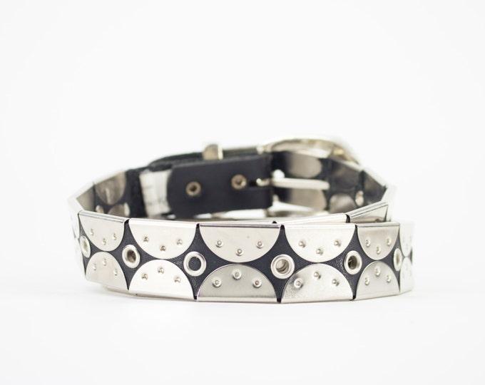 Vintage 90s Belt | Leather and Metal Scale Belt | Size 34