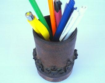 Vintage Leather Pens and Pencils Holder/ Desk Pen Holder/ Pencils Organizer/ Office Accessories/1970s