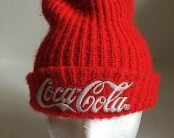 Vintage Coca Cola Beanie Stocking Cap 80s