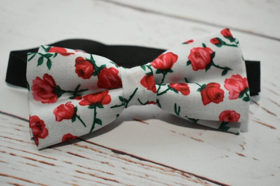BOYS COLLECTION: Red and white Floral Bow Tie  for Baby, Toddlers and Boys (Kids Bow Ties) with Braces/ Suspenders
