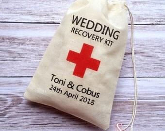 Personalised DIY Wedding Recovery favor bags, 4x6 muslin bags.