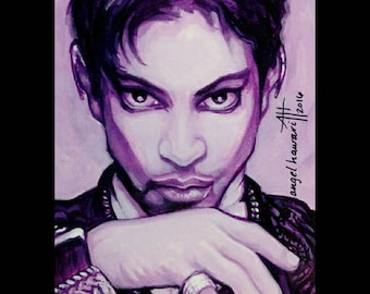 Diamond Pinky Ring print, Prince Rogers Nelson, Tribute Portrait  by Angel Hawari.