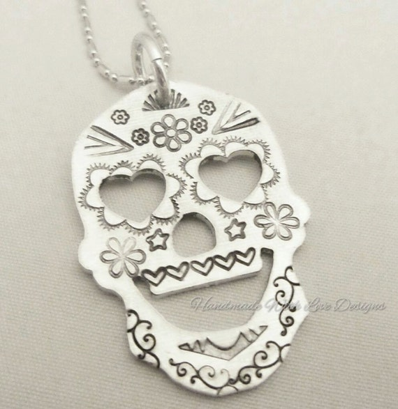 Sugar Skull Alternative Pendant Handstamped Unique Necklace