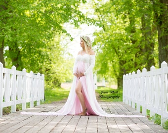 Violeta Dress, Off-Shoulder, Long Sleeves/ Maternity Gown/ Maternity Dress/ Photography