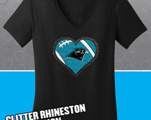 Carolina Panthers Glitter Bling T-shirt - Ladies Vneck