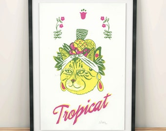 Cute A3 Tropicat Cat Screen Print - hand-printed screen print - cat print - tropical print - wall art