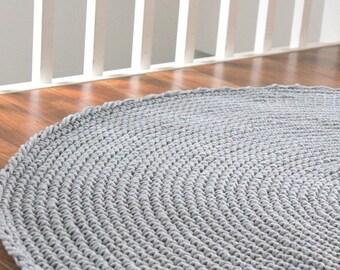 Crocheted Round Cotton Grey Rug Carpet Fi 140cm 55u0027u0027 Crochet Rug Gray Rug  Scandinavian