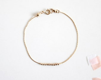 Small Gold Beads Bracelet - 14K Gold Filled Tiny Beads Bracelet - Gold Round Beads Bracelet - Simple, Modern, and Minimal Jewelry