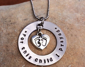 Hand Stamped, Stainless Steel, Baby Feet, New Mom, Twins, Custom, Personalized Necklace
