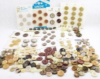 Brown Button Lot, Vintage Brown Buttons, Vintage Button Lot, Brown Button Mixed Lot, De-Stash Button Lot, Vintage New Buttons Still On Cards