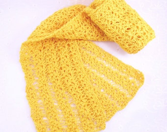 Golden Yellow Cotton Scarf, Summer Cotton Scarf, Lace Cotton Scarf, Crochet Summer Scarf, Yellow Open Weave Scarf, Light Weight Scarf