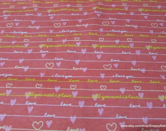 Flannel Fabric - Love Pink - 1 yard - 100% Cotton Flannel