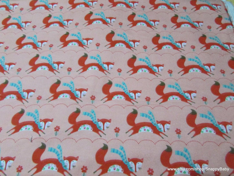 Flannel Fabric Fox in Scarf 1 yard 100% Cotton Flannel