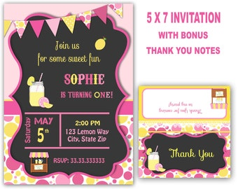 Lemonade invitation Lemonade party Lemonade birthday party pink lemonade country shabby chic rustic chalkboard personalized for you