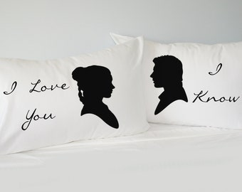 Star Wars Inspired Pillowcase Set, I love you, I know, gift for couples