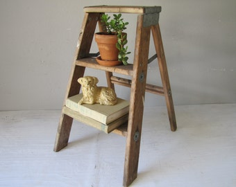 Vintage Wood Step Ladder, Rustic Display, Folding Ladder