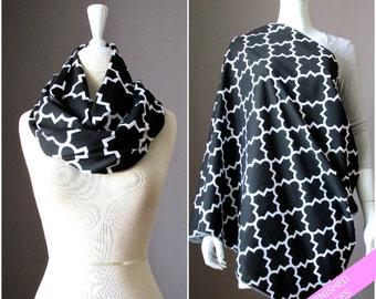 Two in one Nursing cover / scarf, Breastfeeding scarf, Black infinity scarf, Baby shower gift, Nursing mom