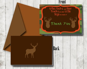 Thank You Card Camouflage, Hunter's Orange Baby Shower Thank You Note, Camo Note Card, Deer Note Card, Camouflage Card, Party Favor