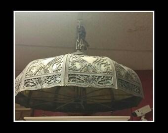 Beautiful antique slag glass chandelier hanging light fixture