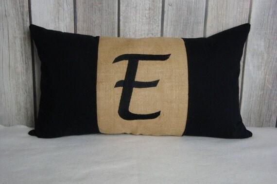 Monogram Pillow. Black Pillow. Burlap Pillow. Pillow Cover.