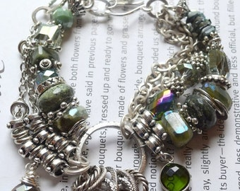 ON SALE bracelet, peridot bracelet, vesuvianite bracelet, green bracelet, southwestern bracelet, bohemian bracelet, boho chic bracelet