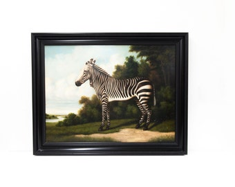 Hand Painted Oil on Canvas Zebra Portrait