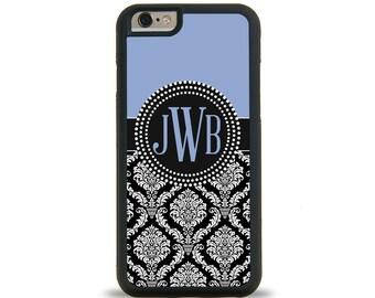 Damask Ice Blue Monogram Personalized iPhone Case, Monogram Personalized Galaxy Case