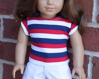 18 inch doll clothes, AG doll clothes, 18 inch red, white and blue t-shirt for dolls such as American girl