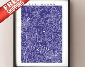 Kathmandu Map Art Print - Nepal poster - Choose your color and size