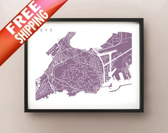 Sete Map Print - France Art Poster - Choose your color and size