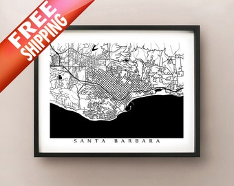 Santa Barbara City Map Print - California Art Poster