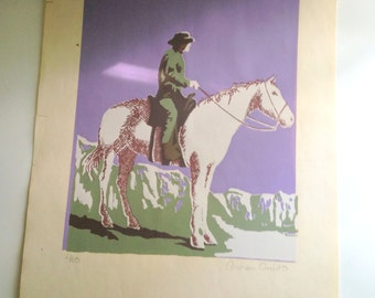 Western Rider Signed Print by A Ardito, Numbered Print, Andrea Ardito Art,  Rider on Horse Print, Horse Pictures,
