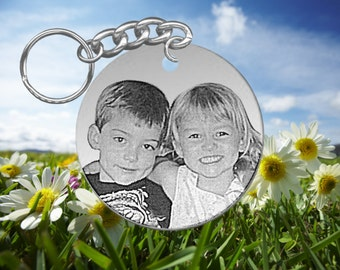 Big Round, Laser Engraved Picture Keychain, Your Photo, Personalized on back