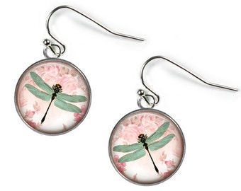 DRAGONFLY - Glass Picture Earrings - Silver Plated (Art Print Photo AM40)