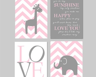 Elephant Nursery. Pink and Grey Nursery. You Are My Sunshine Art. Giraffe Nursery. Pink and Gray Nursery. Elephant Art. PRINTABLE art